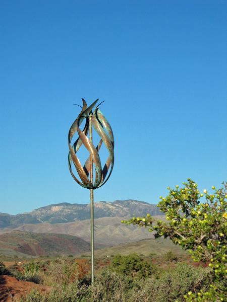 Desert-Flame-Lyman-Whitaker-Wind-Sculpture-blue-sky