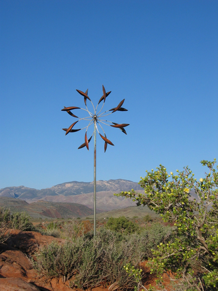 Double-Spinner-Wind-Sculpture-Lyman-Whitaker-blue-sky